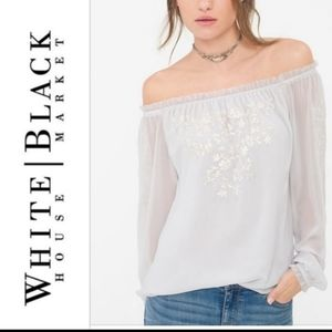 WHBM Off the shoulder embroidered blouse